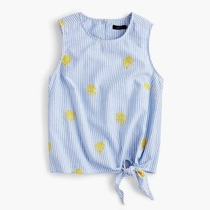 J Crew Embroidered Pineapple Side Tie Top